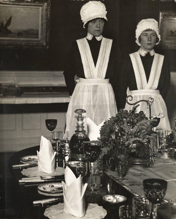 image of 'Parlourmaid and under-parlourmaid ready to serve dinner'