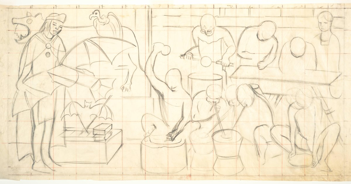 Diego rivera untitled study for the mural pan american for Diego rivera pan american unity mural