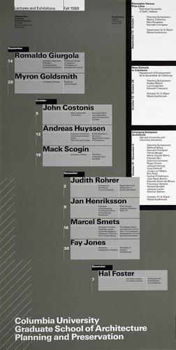 Columbia University School of Architecture, Planning, and Preservation, Fall 1988 Lecture Series Poster