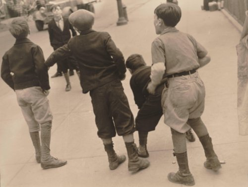 Four Boys Playing on the Streets of New York
