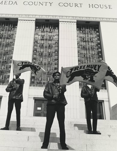 Black Panther demonstration in front of the Alameda County Court House, Oakland, California, during Huey Newton's trial, July 30, 1968, from The Vanguard: A Photographic Essay on the Black Panthers