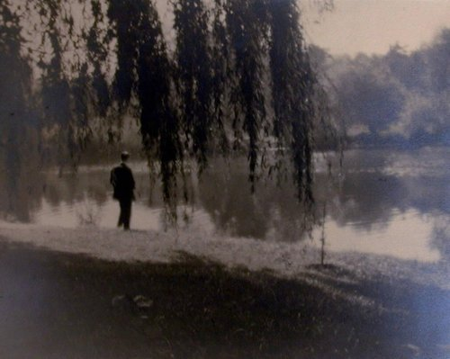 Untitled [Man Standing under Willow Tree at Water's Edge], from the series On Kolín Island
