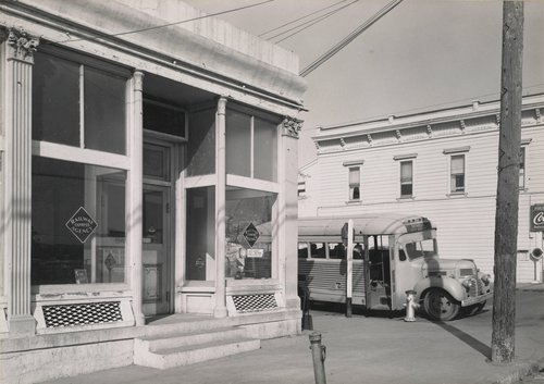 Untitled [Railway Express Agency and bus, Benicia]