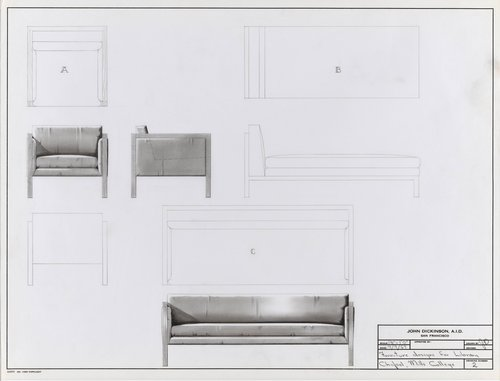 Furniture designs for chapel library, Mills College
