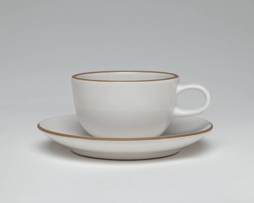 Opaque White tea cup and saucer from the Coupe line
