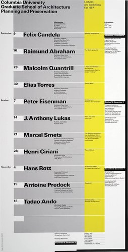Columbia University School of Architecture, Planning, and Preservation, Fall 1987 Lecture Series Poster