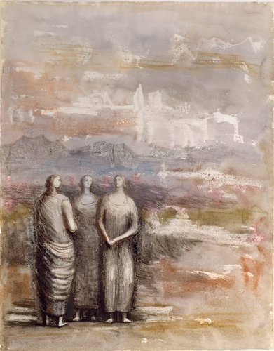 Three Standing Women in Landscape