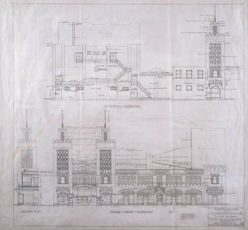 Theatre Building for Tulare Theatre Co. Inc., Tulare, California (L Street and Tulare Street Elevations)