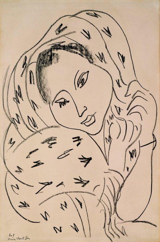 image of 'Thèmes et variations (Série L, variation 9) [Themes and Variations (Series L, variation 9)], formerly Fille au châle (Girl with a Shawl)'