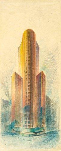Perspective sketch for a skyscraper