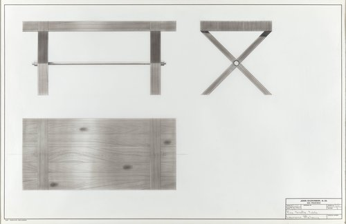 Pine trestle table for Lawrence Maloney