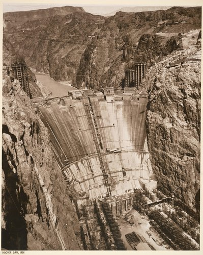 The Downstream Face of Boulder Dam as Seen from Lookout Point, from the Hoover Dam Project