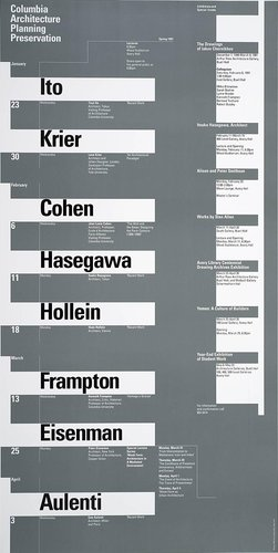 Columbia University School of Architecture, Planning, and Preservation, Spring 1991 Lecture Series Poster