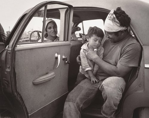 Untitled [Farm worker family in a car, Bakersfield, California]