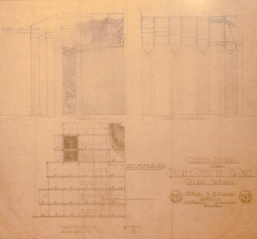 Drawing of Plan of Ceiling Proscenium Arch, and Side Elevation of the Tulare Theater