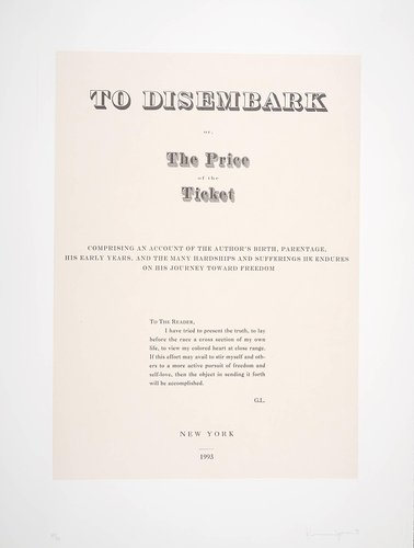 To Disembark or, The Price of the Ticket, from the portfolio, Narratives