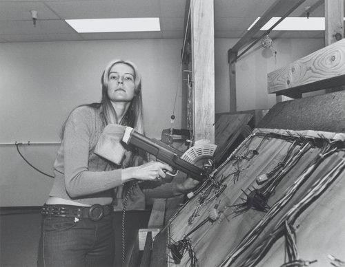 """My dream is to be an airline stewardess, but I'm not old enough. In the meantime I operate a pneumatic tie-wrap gun and make harnesses for electronic pong games. I can't wait until I turn twenty-one."" From the series Working (I do it for the Money)"