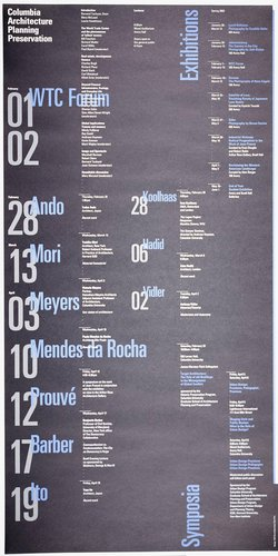 Columbia University School of Architecture, Planning, and Preservation, Spring 2002 Lecture Series Poster