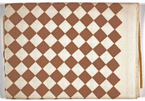 Checkerboard Tablecloth [Brown on white]