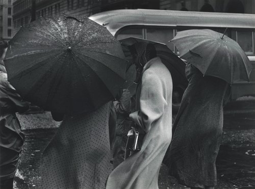Figures in Rain, San Francisco, from Portfolio Two: Twelve Photographs by Pirkle Jones