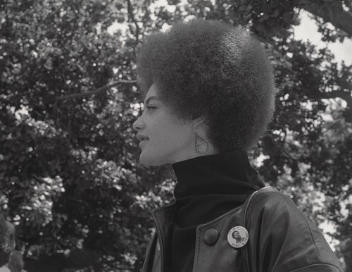 Kathleen Cleaver, Communications Secretary of the Black Panther Party and wife of Eldridge Cleaver, De Fremery Park, Oakland, California, July 14, 1968, from The Vanguard: A Photographic Essay on the Black Panthers