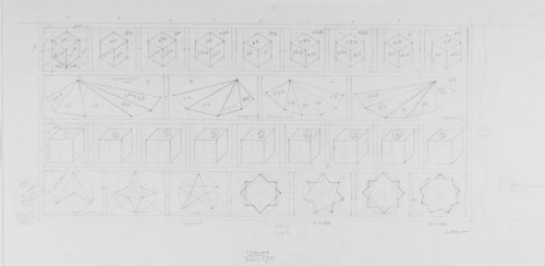 Working drawing for Four Rows [top row: Wall Drawing #746; second row: Wall Drawing #444, #446, #436, & #477; next row: Wall Drawing #601; and last row: Wall Drawing #808]