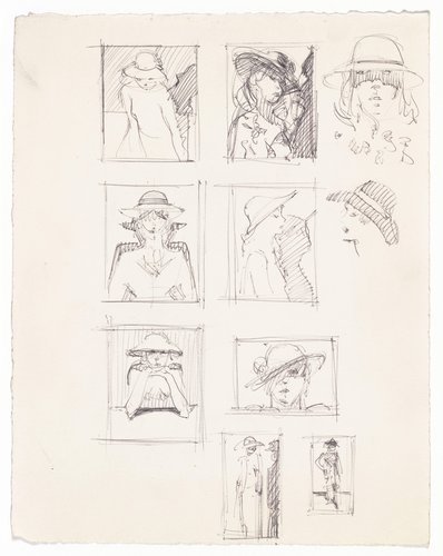 "Ten sketches for ""Girl with Pink Hat"""