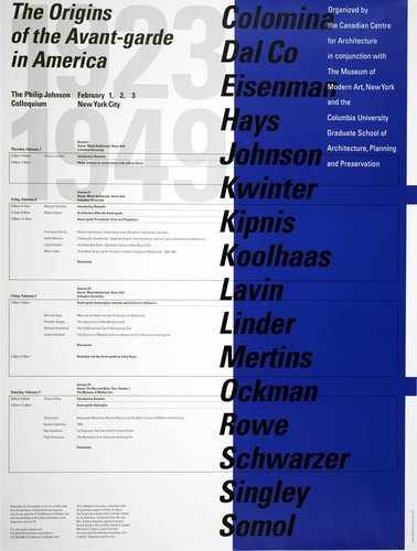 Columbia University, The Origins of the Avant-Garde in America Symposium poster