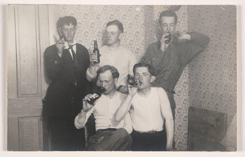 Untitled [Men drinking beer]
