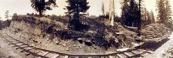 Untitled [Panorama of narrow gauge railroad, Mt. Tamalpais]