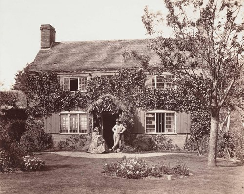 Untitled [Country cottage with couple]