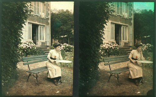 Untitled [Woman in front of a chateau]