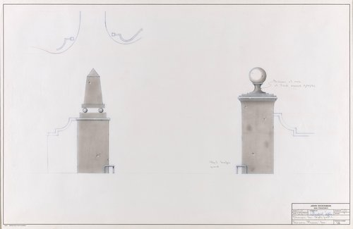 Designs for gateposts, Sonoma Mission Inn