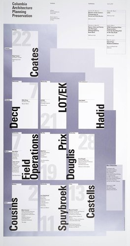 Columbia University School of Architecture, Planning, and Preservation, Spring 2001 Lecture Series Poster