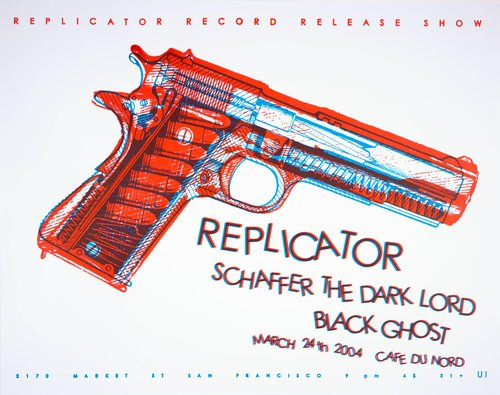 Replicator Record Release Show: Replicator, Schaffer the Dark Lord, Black Ghost; Cafe du Nord; March 24, 2004