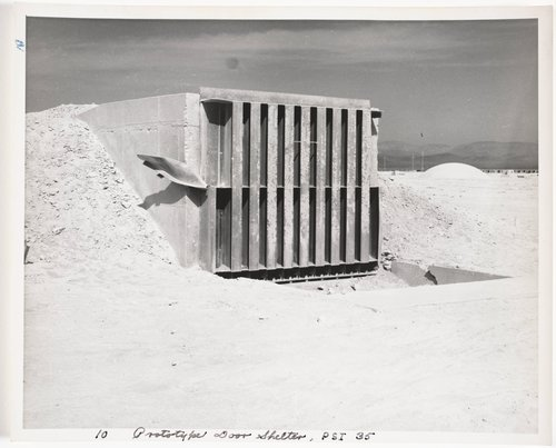 Atomic Tests in Nevada [Prototype door shelter, P.S.I. 35]