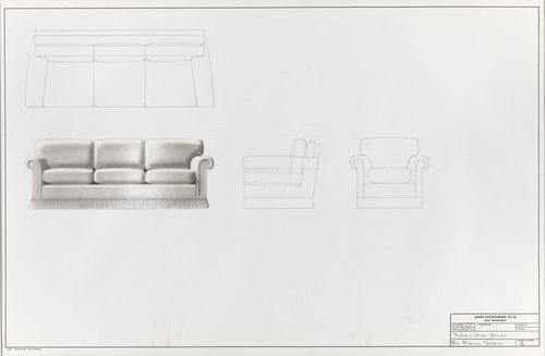 Sofa and chair design for Mrs. Marion Greene