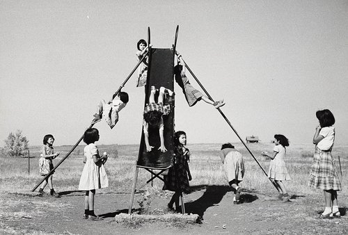 Girls on Sliding Board, Marty, South Dakota, October 1953