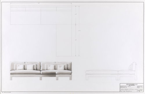 Sofa with canvas cushions and vinyl frame for Dr. Leo Keoshian