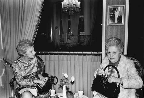 Two ladies having tea, Beverly Hilton Hotel