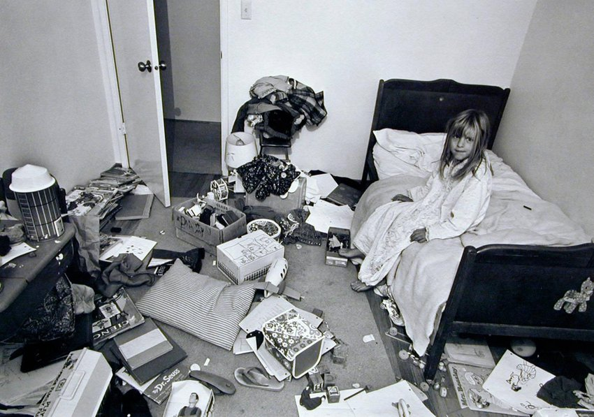 "image of '""I wanted Christina to learn some responsibility for cleaning her room, but it didn't work."" From the series Suburbia'"