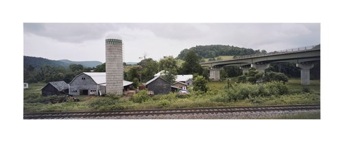Farmstead, tracks, overpass, near Lyndonville, Caledonia Co., Vermont, 1983