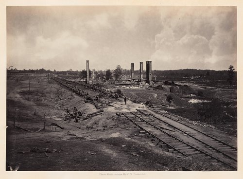 Destruction of Hood's Ordnance Train, from Photographic Views of Sherman's Campaign