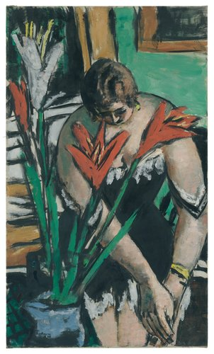 Frau bei der Toilette mit roten und weissen Lilien (Woman at Her Toilette with Red and White Lilies)