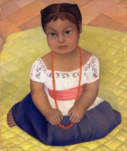 Kneeling Child on Yellow Background (Mexican Girl-Child)
