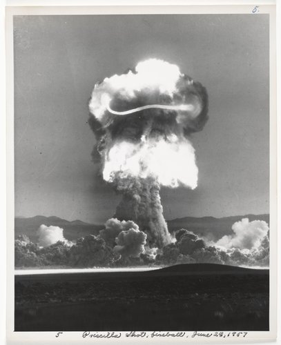 Atomic Tests in Nevada [Priscilla Shot fireballs, June 24, 1957]