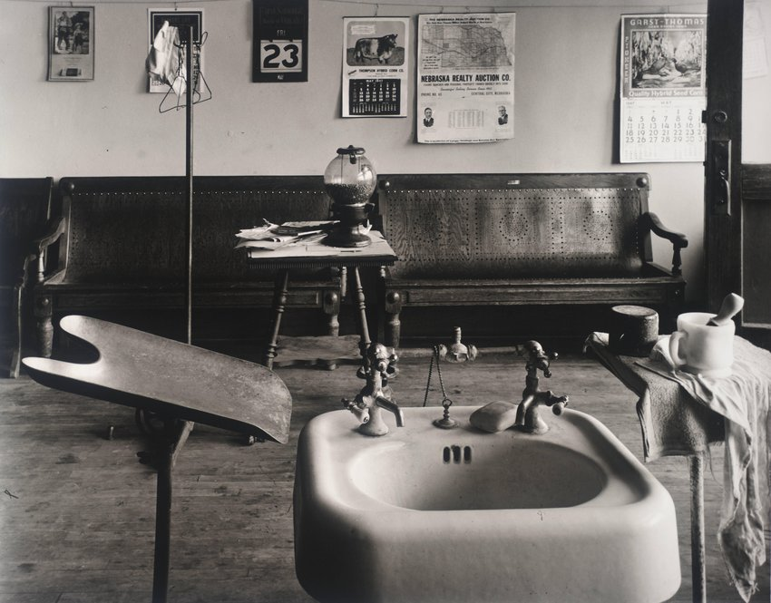 image of 'Barber Shop Interior; Cahow's Barber Shop, Chapman, Nebraska'