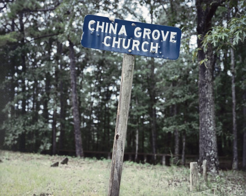 image of 'Sign for China Grove Church, Hale County, Alabama'