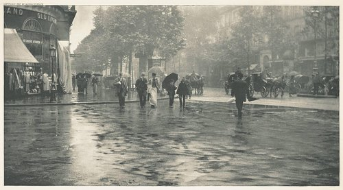 A Wet Day on the Boulevard—Paris, from the portfolio Picturesque Bits of New York and Other Studies