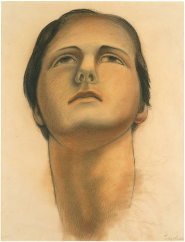 Untitled (Head of the soaring figure), study for ceiling of the mural Allegory of California, Pacific Stock Exchange Luncheon Club, San Francisco